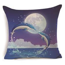 ... Printed Lovers Embrace Moonlight Mermaid Ocean Square Cushion Cover  Decor Pillow Case Size: 45cm x 45cm. Weight: 80g. Color: As the picture