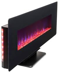 akdy 48 wall mount free standing electric fireplace 3d flames logs crystals contemporary indoor fireplaces by akdy home improvement