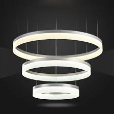 three layer round circle ring led acrylic pendant light
