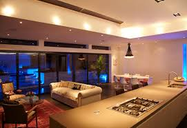 Modern Open Plan Living Room Interior Design With Ceiling Pendant