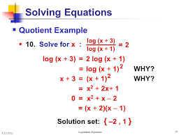 logarithmic equations ppt algebra solving logarithm equations