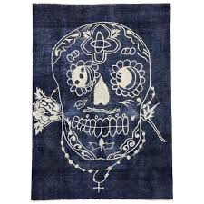 distressed vintage calavera sugar skull rug inspired by alexander mcqueen for at 1stdibs