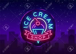 Neon Light Ice Cream Ice Cream Shop Neon Sign Ice Cream Shop Logo In Neon Style
