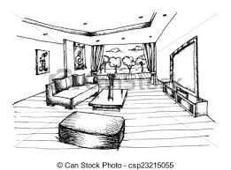 interior design hand drawings. Hand Drawing Interior Design For Living Room - Csp23215055 Drawings