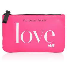 victoria s secret love me small travel pink zipper cosmetic bag