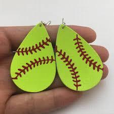 2019 zwpon 2018 personalized baseball leather earrings women sports neon green softball earrings teardrop earrings fashion jewelry from tengxun123