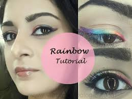 easy rainbow eyes colourful makeup tutorial steps stani indian bridal
