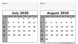 Print July August 2020 Calendar Template 2 Month Calendar