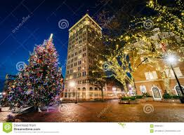 Lancaster Christmas Lights Christmas Tree And Buildings At Penn Square At Night In