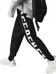 Pants In Letter Print Drawstring Casual Sport Pants Black
