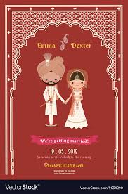 Save The Dates Wedding Indian Wedding Bride Groom Cartoon Save The Date Vector Image