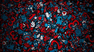 blue and red doodle artwork jared nickerson hd wallpaper