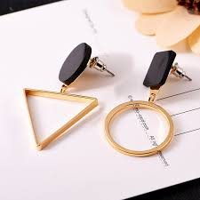 <b>New Fashion</b> Asymmetric <b>Geometric</b> Black Dangle Earrings for ...