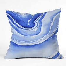 blue agate outdoor throw pillow laura trevey