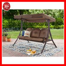 outdoor furniture swing chair. Patio Swing With Canopy 3 Person Padded Seats Outdoor Furniture Backyard Brown Chair