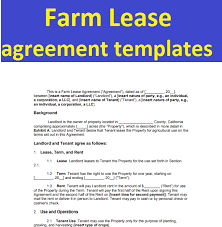 Farm Lease Agreement Templates Form In Word And Pdf | Sample ...