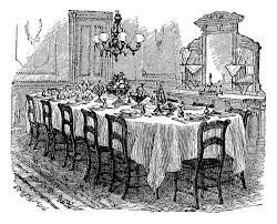 Antique Images Vintage Graphic Of Victorian Dining Table Black - Dining room etiquette