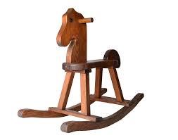 birch wood midcentury modern rocking horse  chairish
