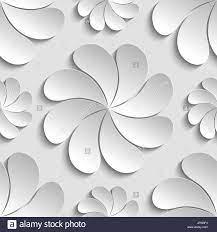Nahtlose Muster weiß 3d Papierblume ...