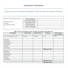 Contractor Templates Free Sample Example Format Employee Timesheet