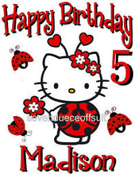 Hello Kitty Size Chart Details About New Personalized Custom Hello Kitty Ladybug Birthday T Shirt Add Name And Age