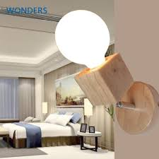 modern wall lamps bedroom wall lights oak wood adjustable wall sconce bedside wall mounted lighting home fixtures