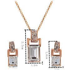 rose gold barrel crystal inlay pendant necklace earring set copper
