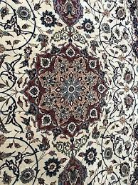 rare vintage fine esfahan isfahan hand knotted silk wool persian rug