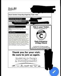 busch gardens tampa ticket electronic version 1 one day ticket pass
