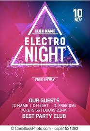 Concert Invite Template Electro Party Music Night Poster Template Electro Style Concert Disco Party Event Invitation