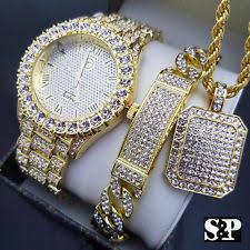 men s iced out hip hop gold pt watch full iced necklace bracelet