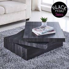 Modern black coffee table Black Wood Stain Black Coffee Table Oak Square Rotating Contemporary Modern Living Room Furniture Furnishare Modern Coffee Table Ebay