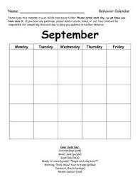 3rd Grade Behavior Chart Behavior Chart Monthly Calendar Education Behaviour