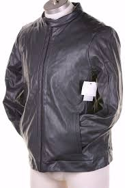 178 calvin klein men s faux leather jacket water repellent gray long sleeve l 797762728920