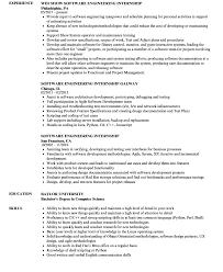 Architecture Intern Resumes Software Engineering Internship Resume Summary Engineer