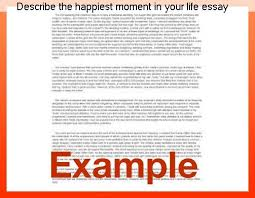 Describe Your Essay Describe The Happiest Moment In Your Life Essay Homework Help