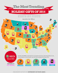 Gift popularity by state, map from Internet In Your Area website