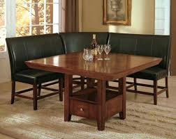 ... Dining Tables, Appealing Brown Square Modern Glass Nook Dining Table  Varnished Design: Extraordinary nook ...