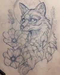 скетч для тату с лисой цветами и листьями Coloring эскизы
