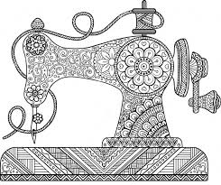 Sewing Machine Zentangle Coloring Page