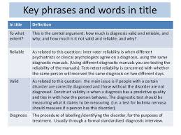 essay plan for to what extent can diagnosis be reliable and valid