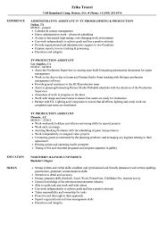 Tv Production Resume Examples Tv Production Assistant Resume Samples Velvet Jobs