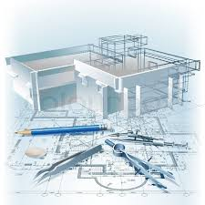 architecture building drawing. Architectural Background With A 3D Building Model. Part Of Project, Plan, Technical Drawing Letters, Architecture