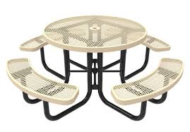 rhino round picnic table thermoplastic expanded metal