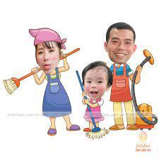 Chibi gia đình dọn dẹp
