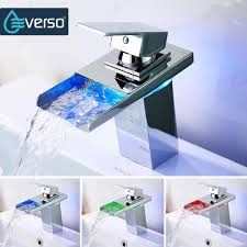 2019 everso led faucet bathroom sink faucet waterfall led light water tap basin from herbertw 54 81 dhgate com