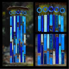 blue glass wind chimes