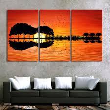 <b>3 Piece</b> Canvas Wall Art- <b>HD Printed</b> - Guitar Tree Lake Sunset ...