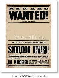 Vector Western Wanted Reward Poster Template Art Print Poster