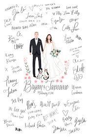 Custom Illustrated Wedding Guest Book Guest Book Portrait